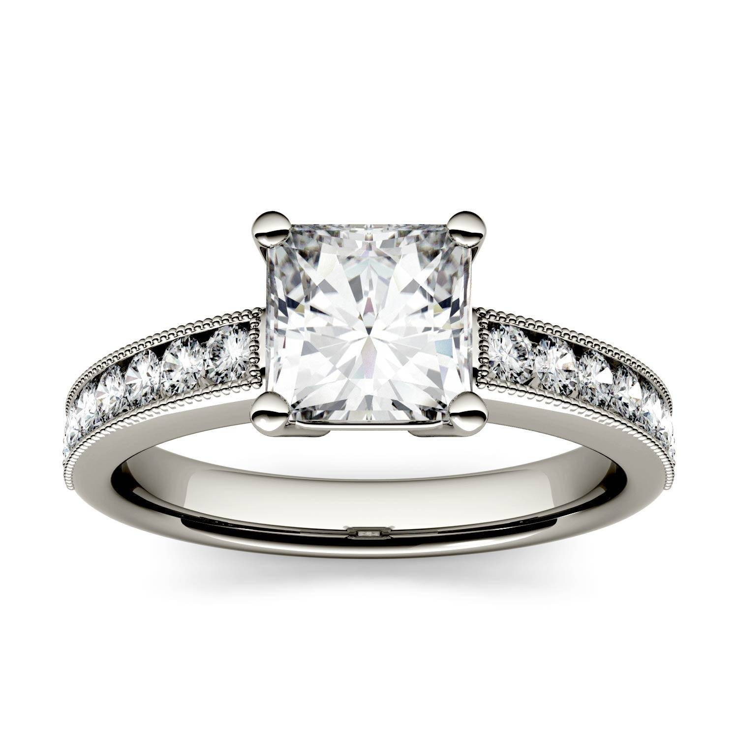 Charles & Colvard Solitaire with Milgrain Side Accents Engagement Ring in 14K White Gold, Size: 7, 1.42CTW Square Forever One - Colorless Moissanite Charles & Colvard  - White Gold - Size: 7