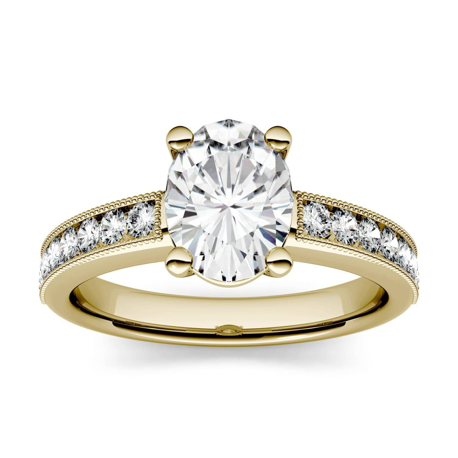 Charles & Colvard Solitaire with Milgrain Side Accents Engagement Ring in 14K Yellow Gold, Size: 7, 1.32CTW Oval Forever One - Colorless Moissanite Charles & Colvard  - Yellow Gold - Size: 7
