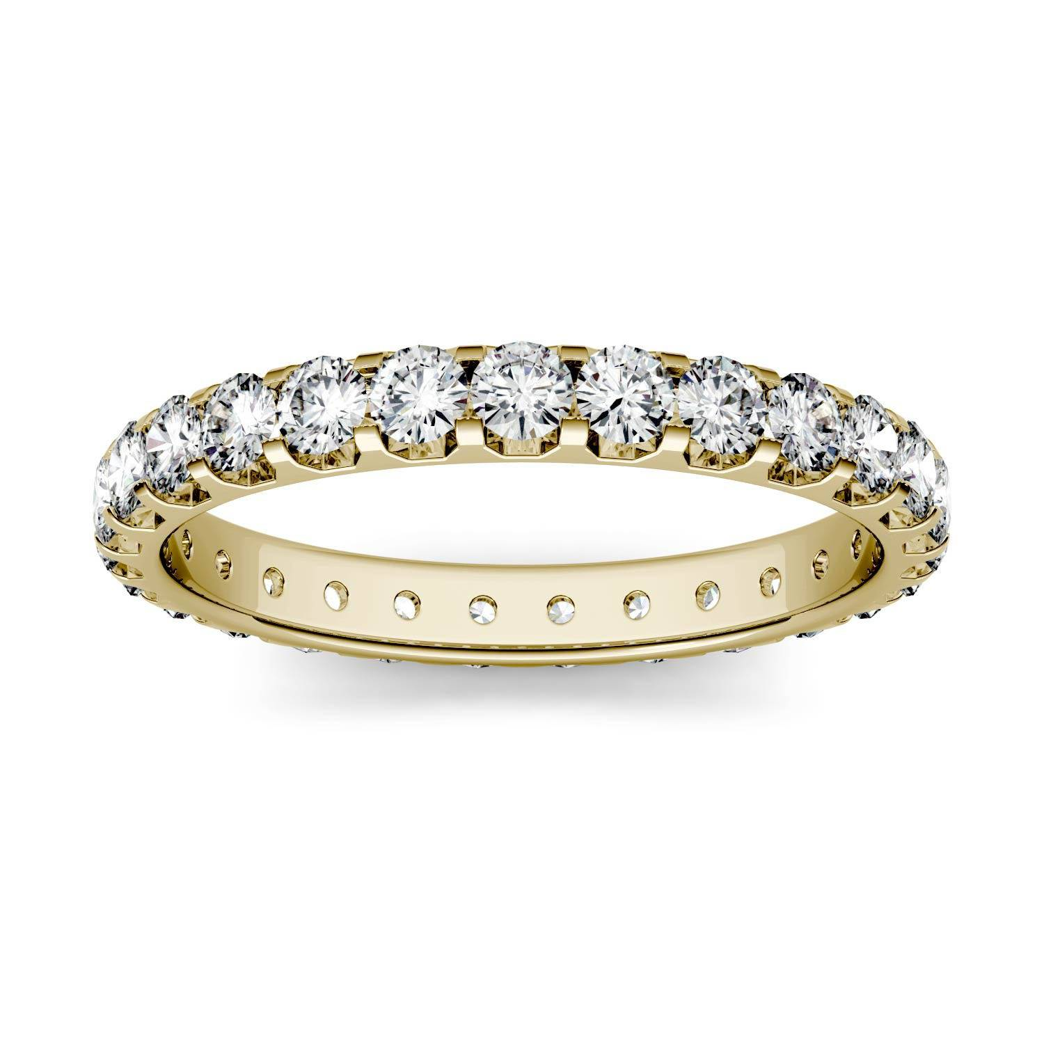 Charles & Colvard Eternity Band Wedding Ring in 14K Yellow Gold, Size: 9, 1.00CTW Round Forever One Moissanite Accent Stones Charles & Colvard  - Yellow Gold - Size: 9
