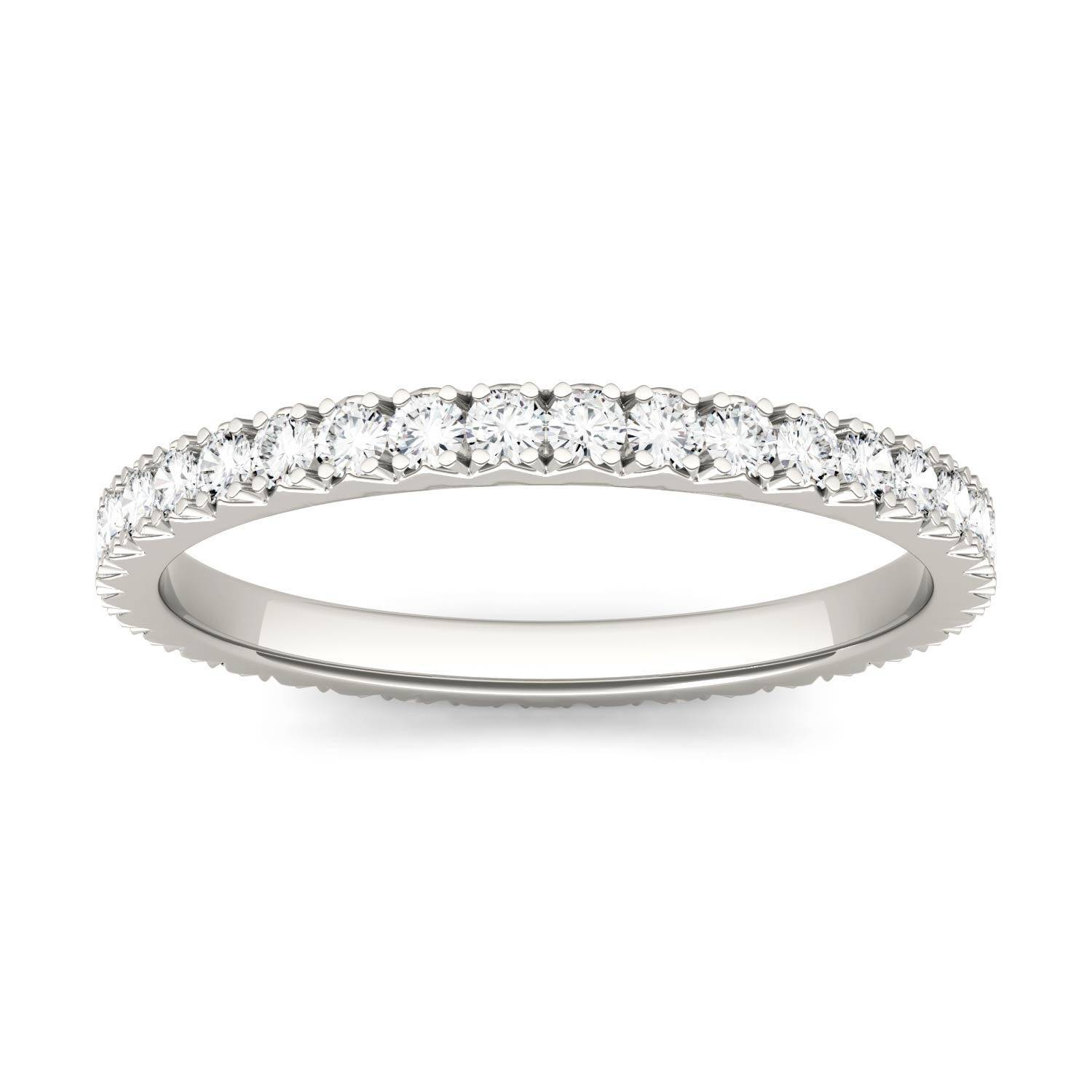 Charles & Colvard Eternity Prong Set Band Wedding Ring in 14K White Gold, Size: 7.5, 0.50CTW Round Forever One Moissanite Accent Stones Charles & Colvard  - White Gold - Size: 7.5
