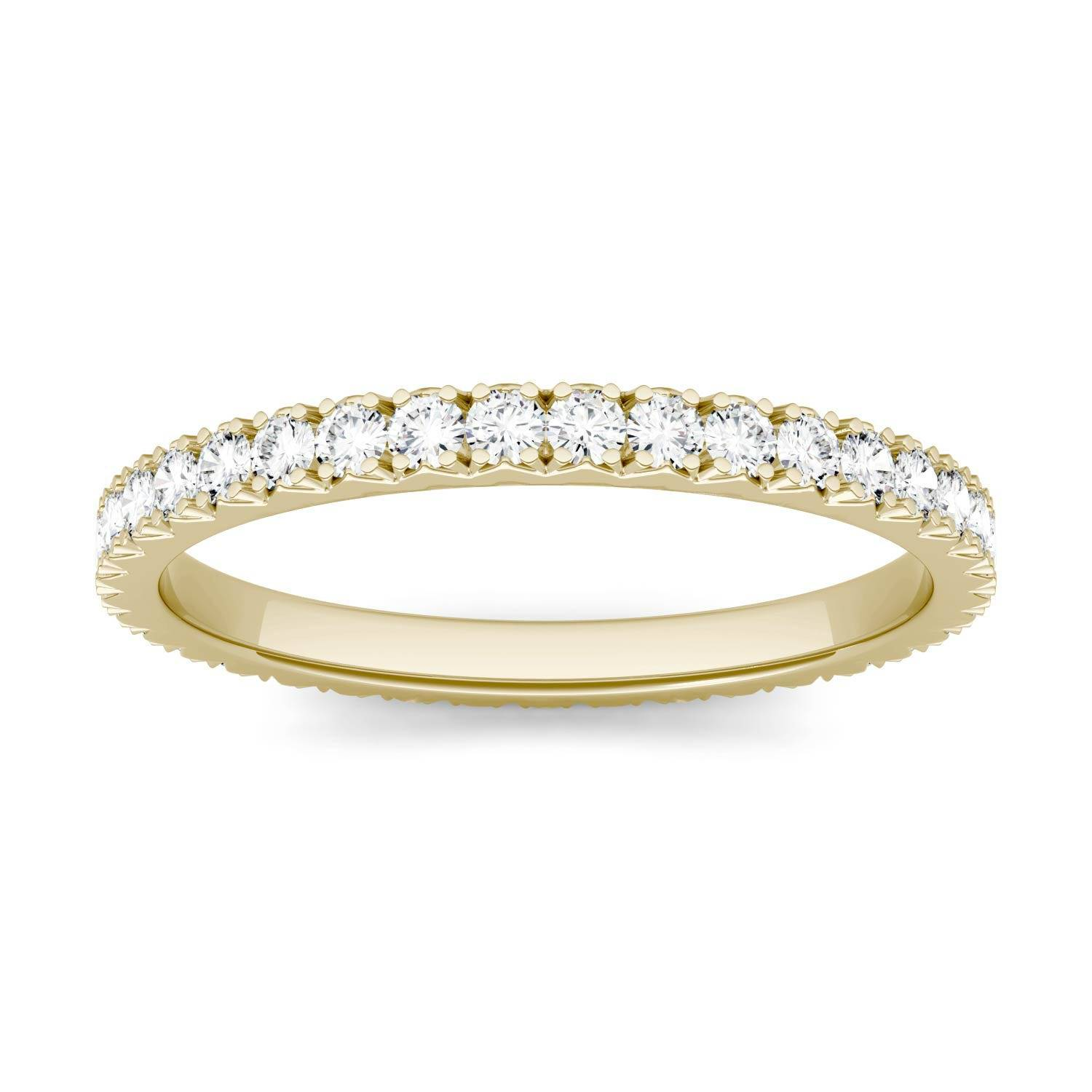 Charles & Colvard Eternity Prong Set Band Wedding Ring in 14K Yellow Gold, Size: 8, 0.50CTW Round Forever One Moissanite Accent Stones Charles & Colvard  - Yellow Gold - Size: 8