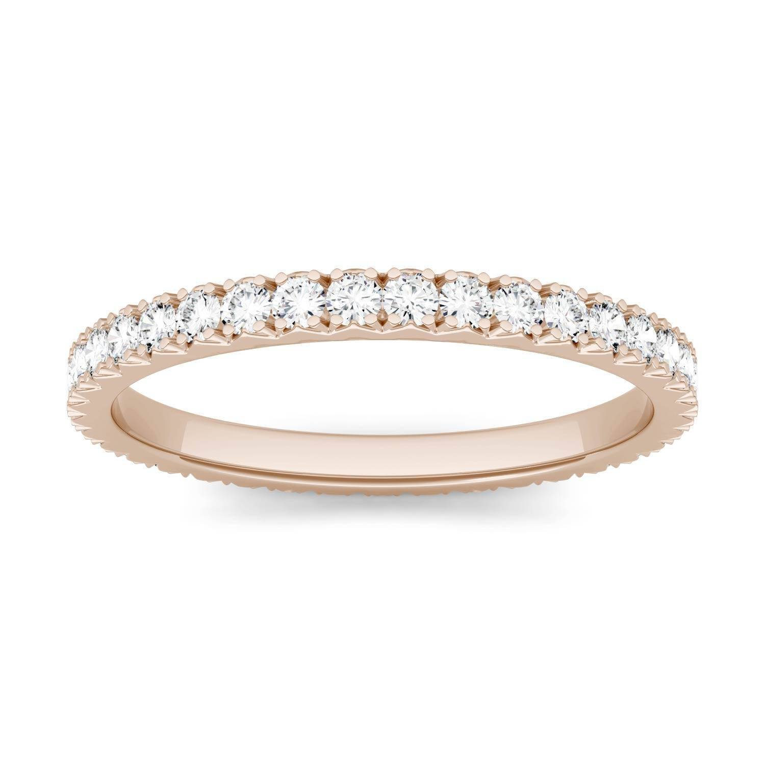 Charles & Colvard Eternity Prong Set Band Wedding Ring in 14K Rose Gold, Size: 5.5, 0.50CTW Round Forever One Moissanite Accent Stones Charles & Colvard  - Rose Gold - Size: 5.5
