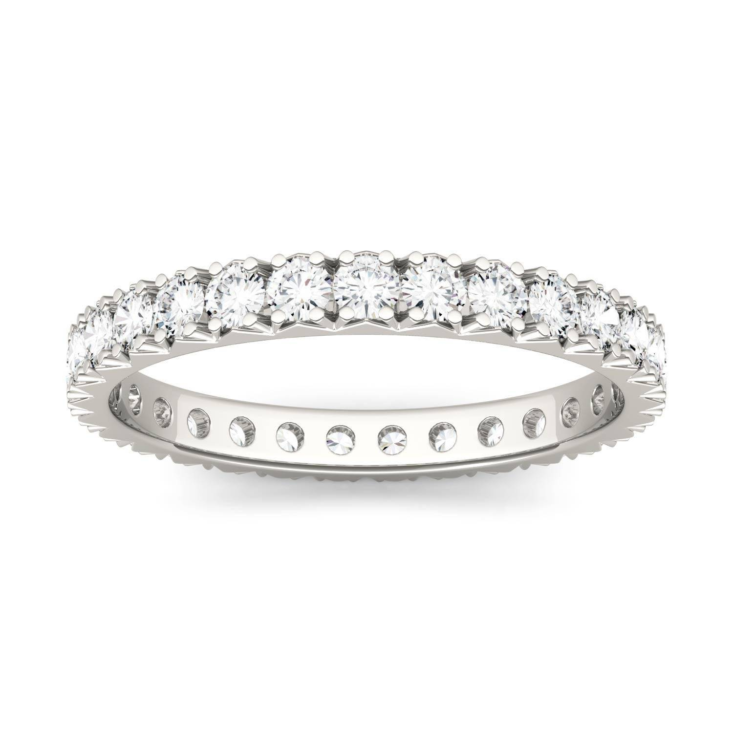 Charles & Colvard Eternity Prong Set Band Wedding Ring in 14K White Gold, Size: 8.5, 1.00CTW Round Forever One Moissanite Accent Stones Charles & Colvard  - White Gold - Size: 8.5