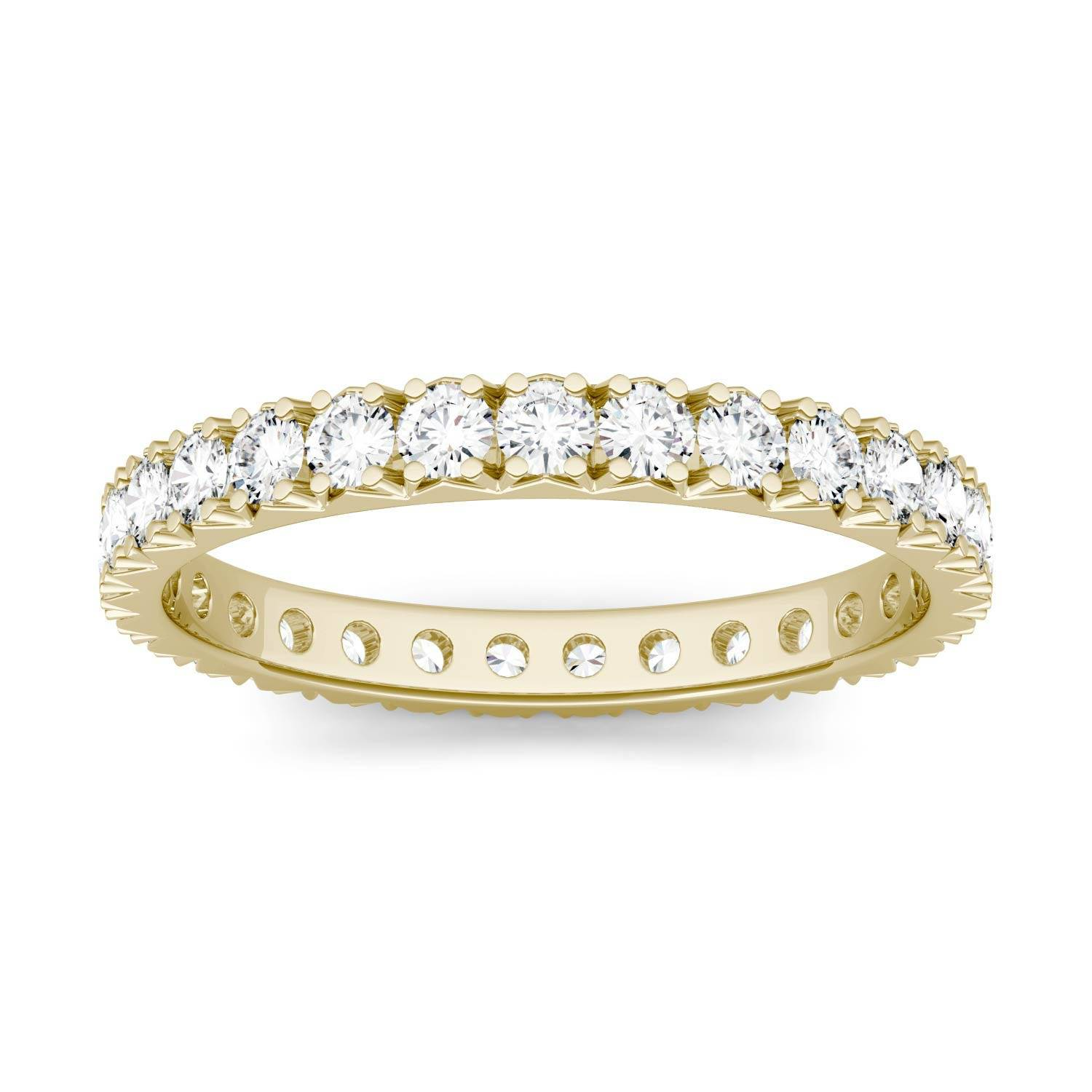 Charles & Colvard Eternity Prong Set Band Wedding Ring in 14K Yellow Gold, Size: 7, 1.00CTW Round Forever One Moissanite Accent Stones Charles & Colvard  - Yellow Gold - Size: 7