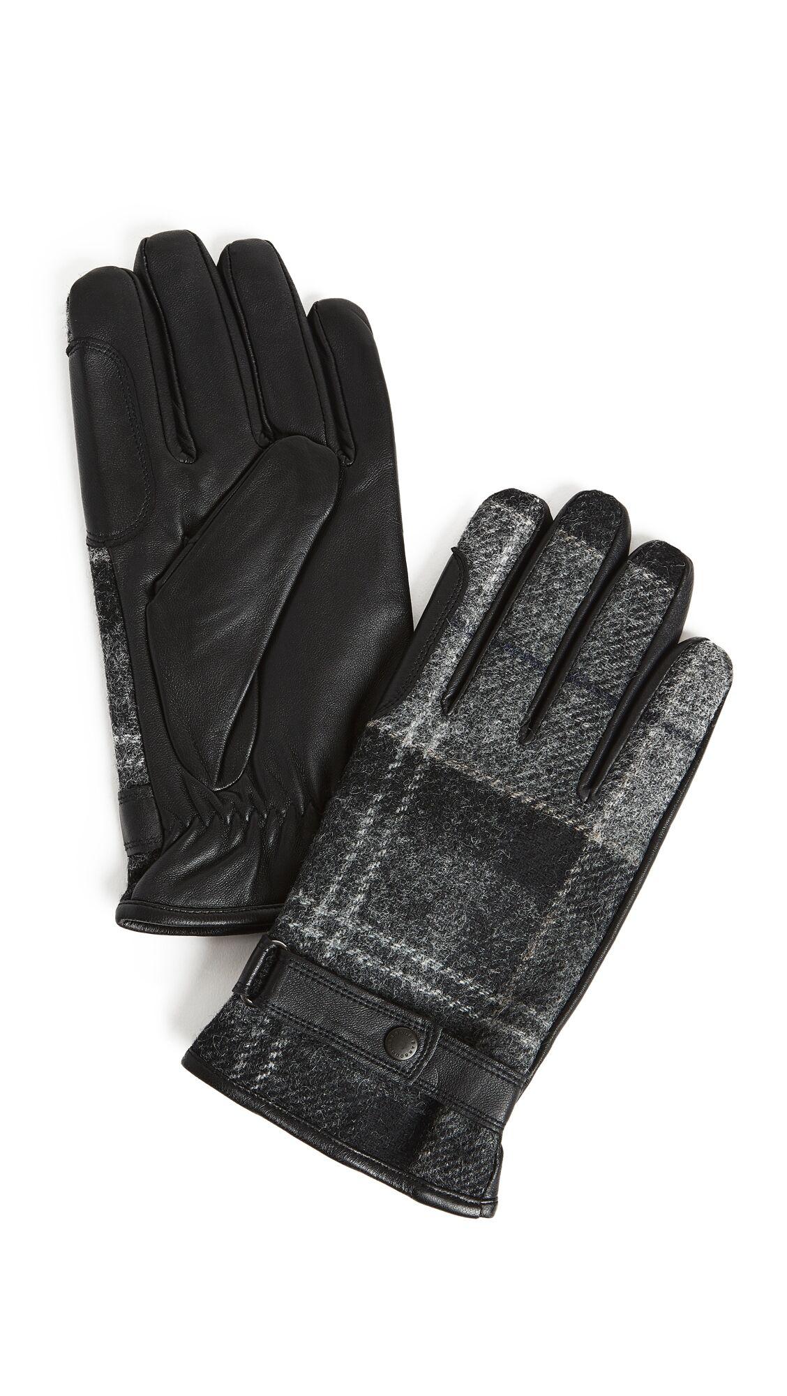 Barbour Newbrough Tartan Gloves - Black/Grey - Size: M