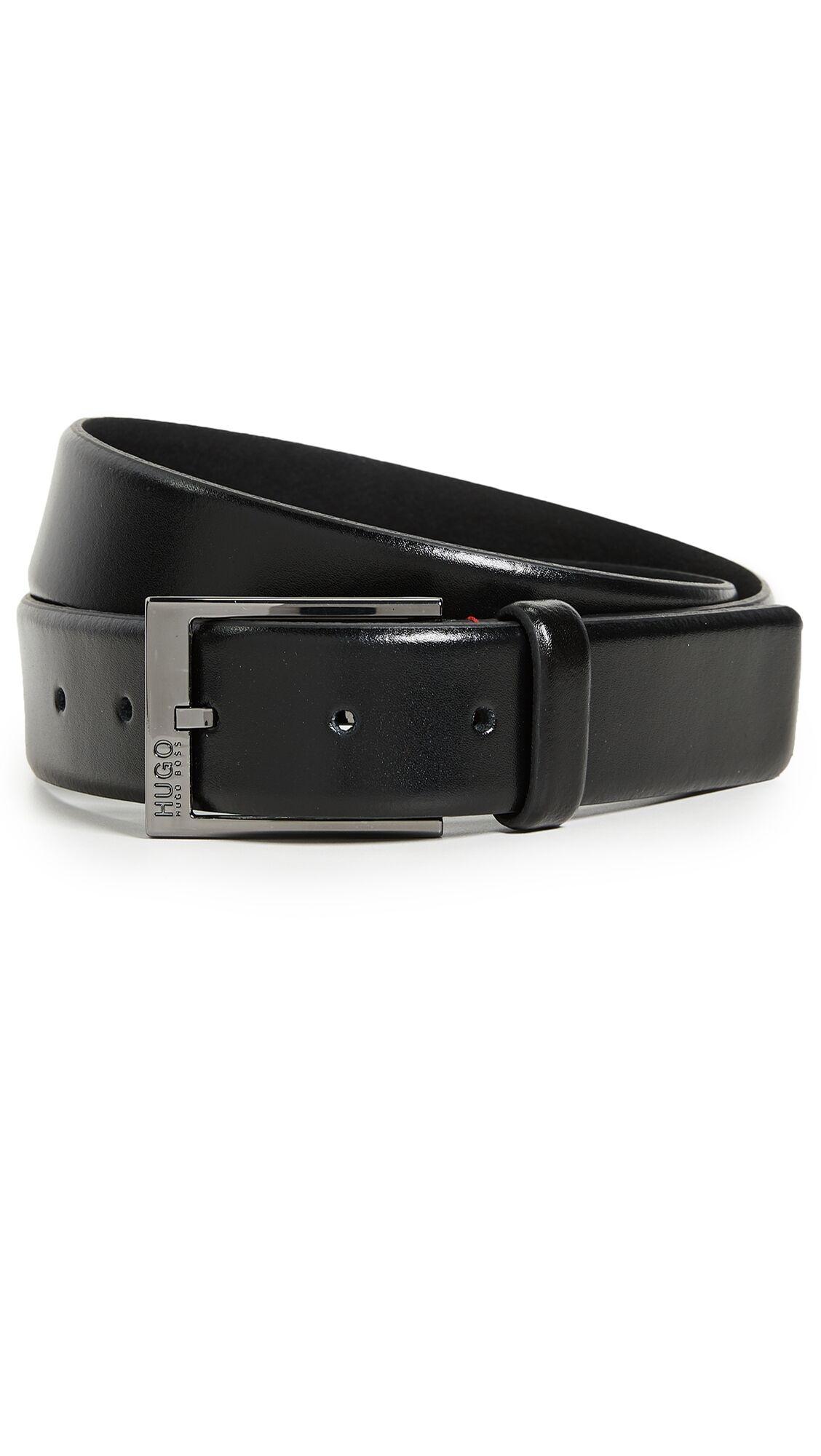 Hugo Boss Garney Smooth Leather Belt - Black - Size: 32