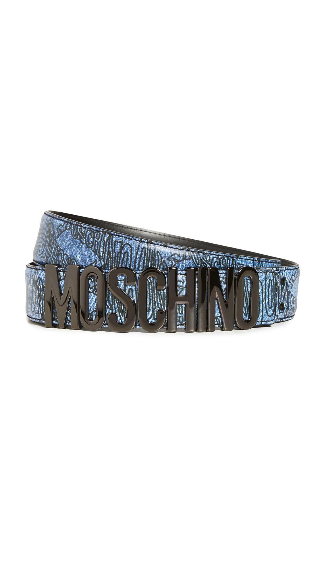 Moschino Leather Logo Belt - Fantasy Print Blue - Size: 52
