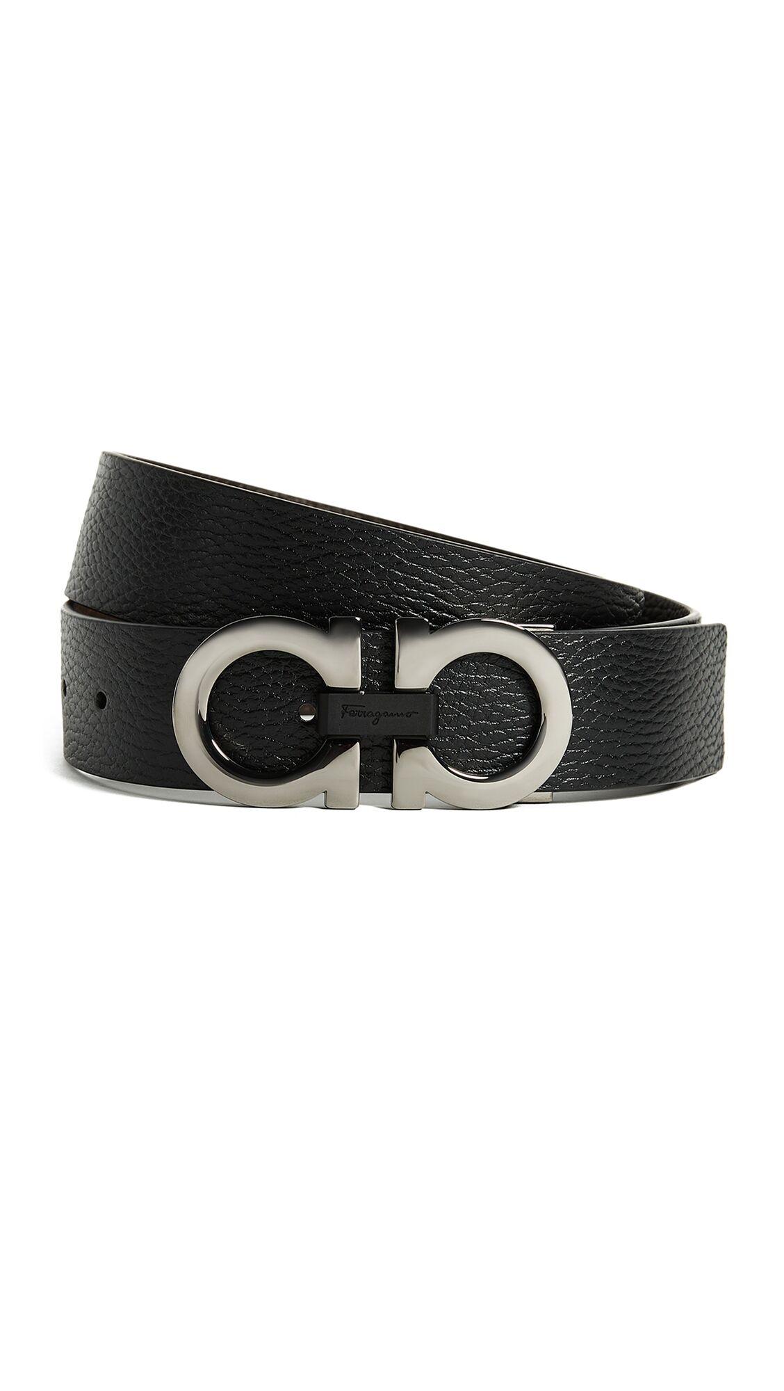 Salvatore Ferragamo Double Gancini Reversible Belt - Black/Brown - Size: 40