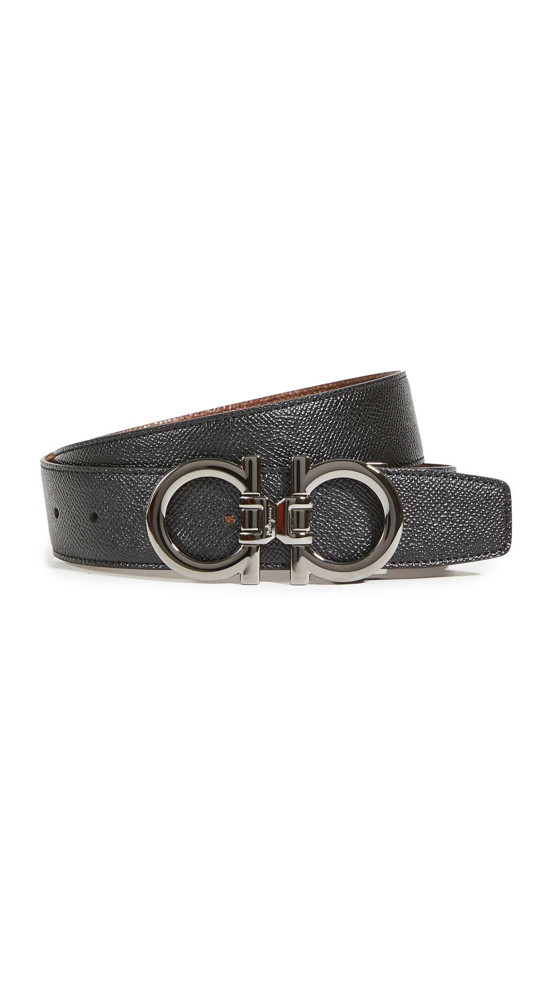 Salvatore Ferragamo Double Gancini Belt - Black - Size: 32