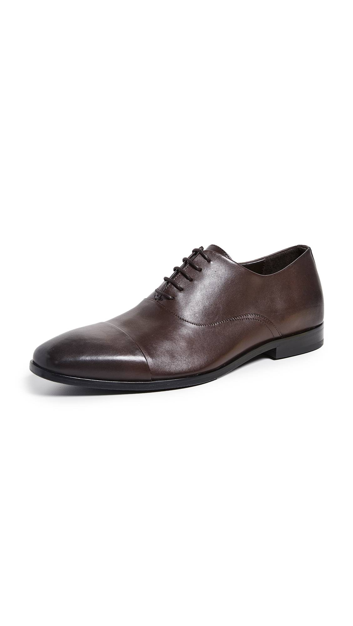 Boss Hugo Boss Highline Cap Toe Derby Lace Up Shoes - Dark Brown - Size: 8