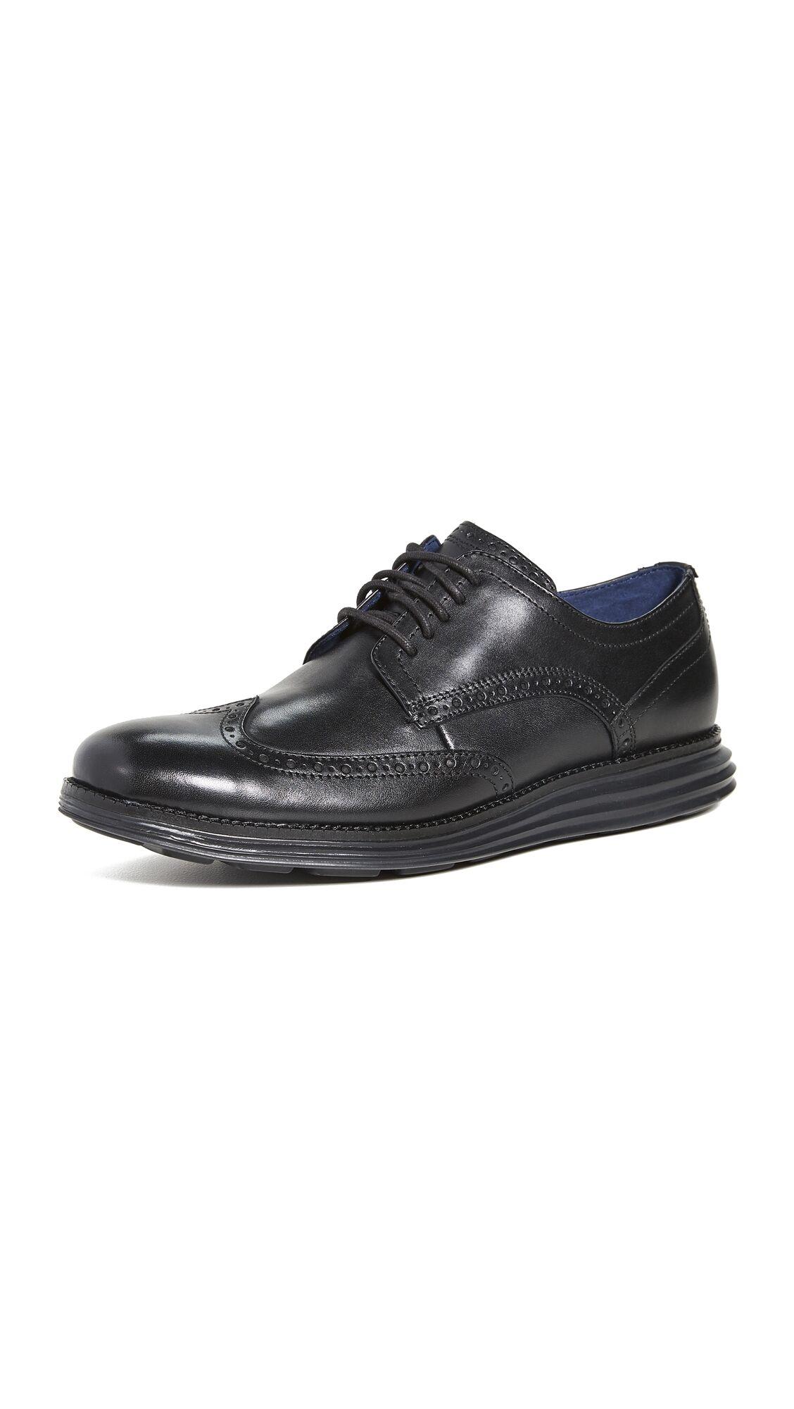 Cole Haan Original Grand Wingtip Oxford Shoes - Black/Black - Size: 9.5