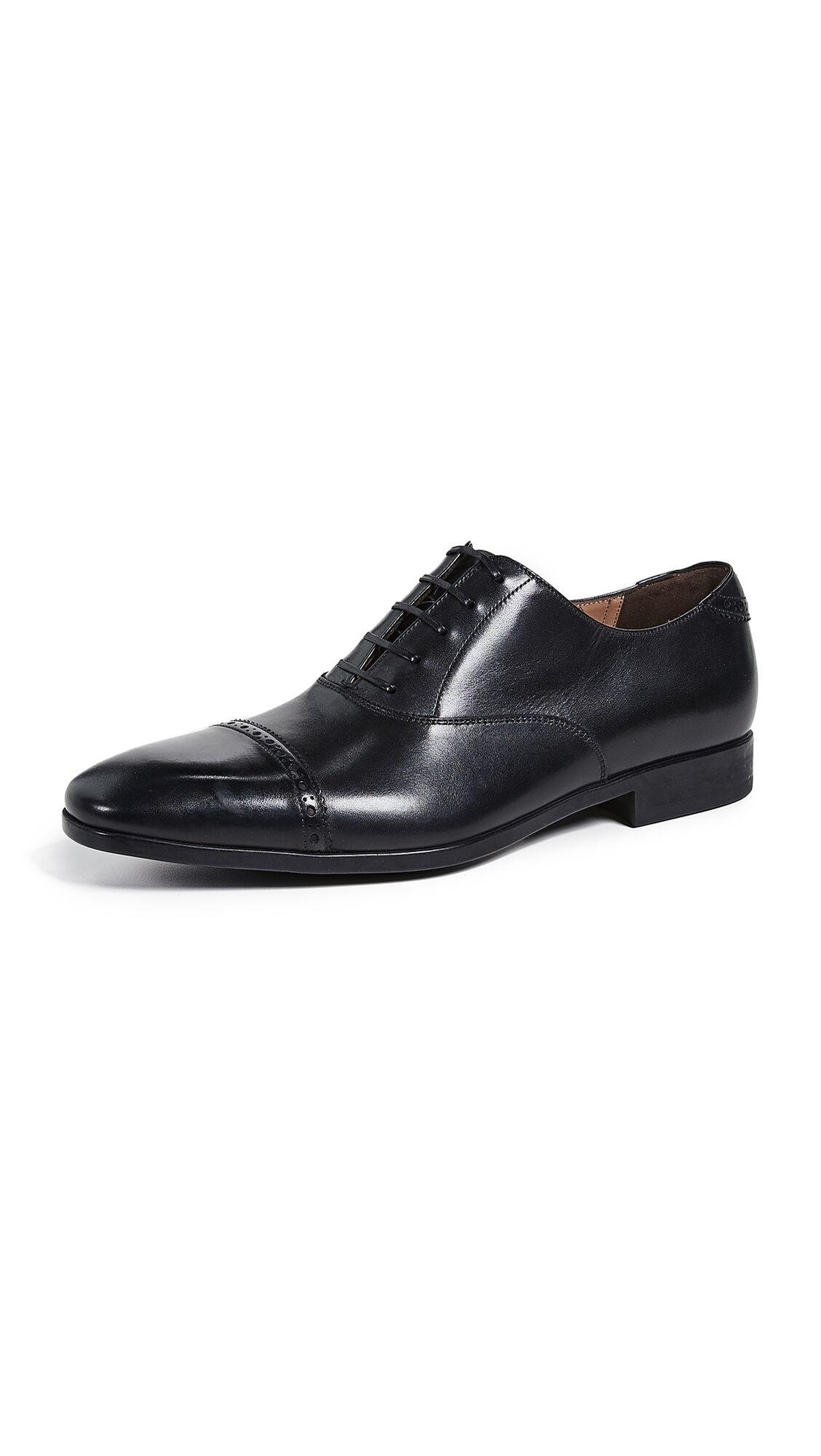 Salvatore Ferragamo Boston Cap Toe Lace Up Shoes - Black - Size: 8