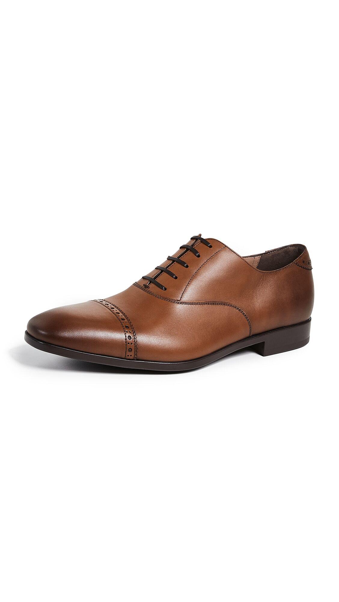 Salvatore Ferragamo Boston Cap Toe Lace Up Shoes - Brown - Size: 10