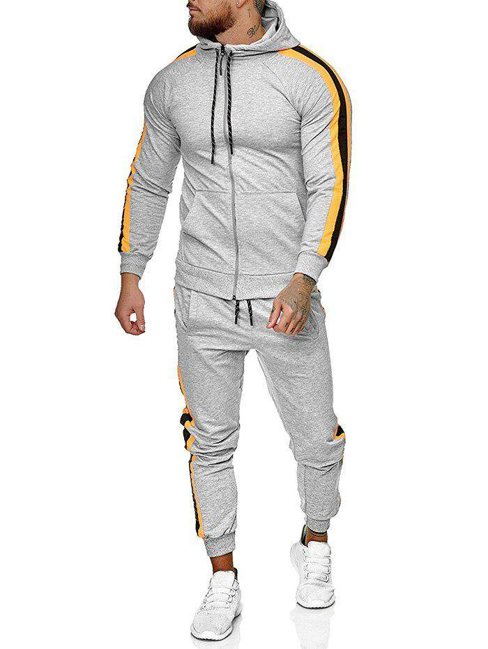 Rosegal Side Striped Hoodie and Sports Pants Two Piece Set