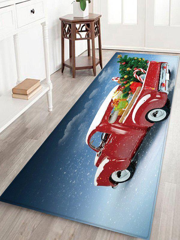 Rosegal Christmas Tree Car Pattern Water Absorption Floor Rug