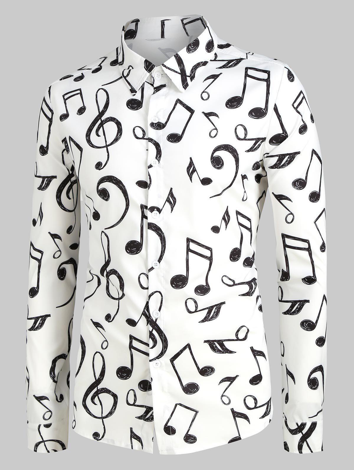 Rosegal Plus Size Music Notes Print Long Sleeve Festival Shirt