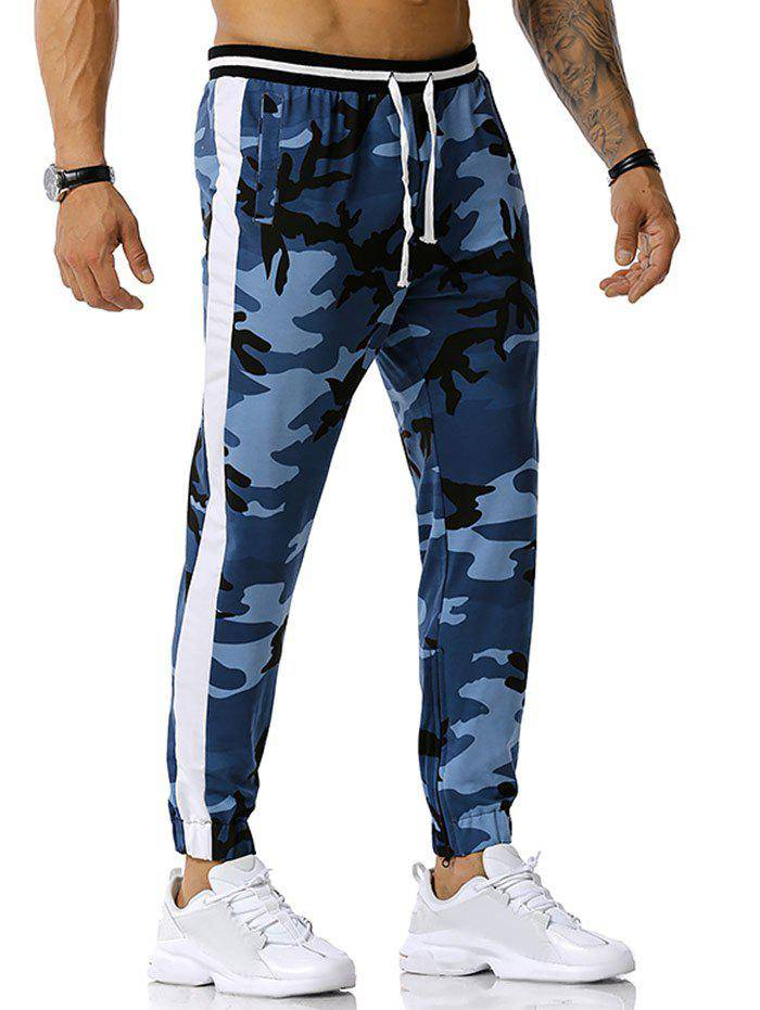 Rosegal Zipper Slit Camouflage Print Sports Pants