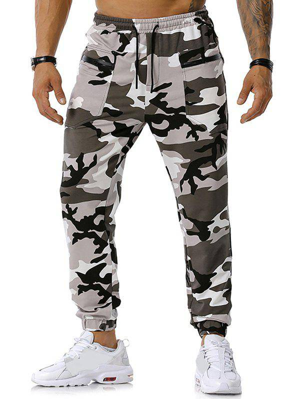 Rosegal Camouflage Print Zipper Pockets Sports Pants