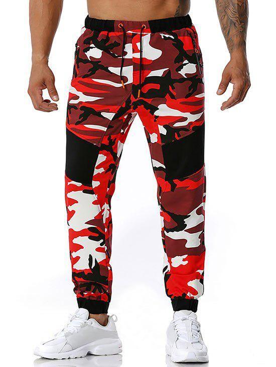 Rosegal Zipper Pockets Camouflage Print Sports Pants