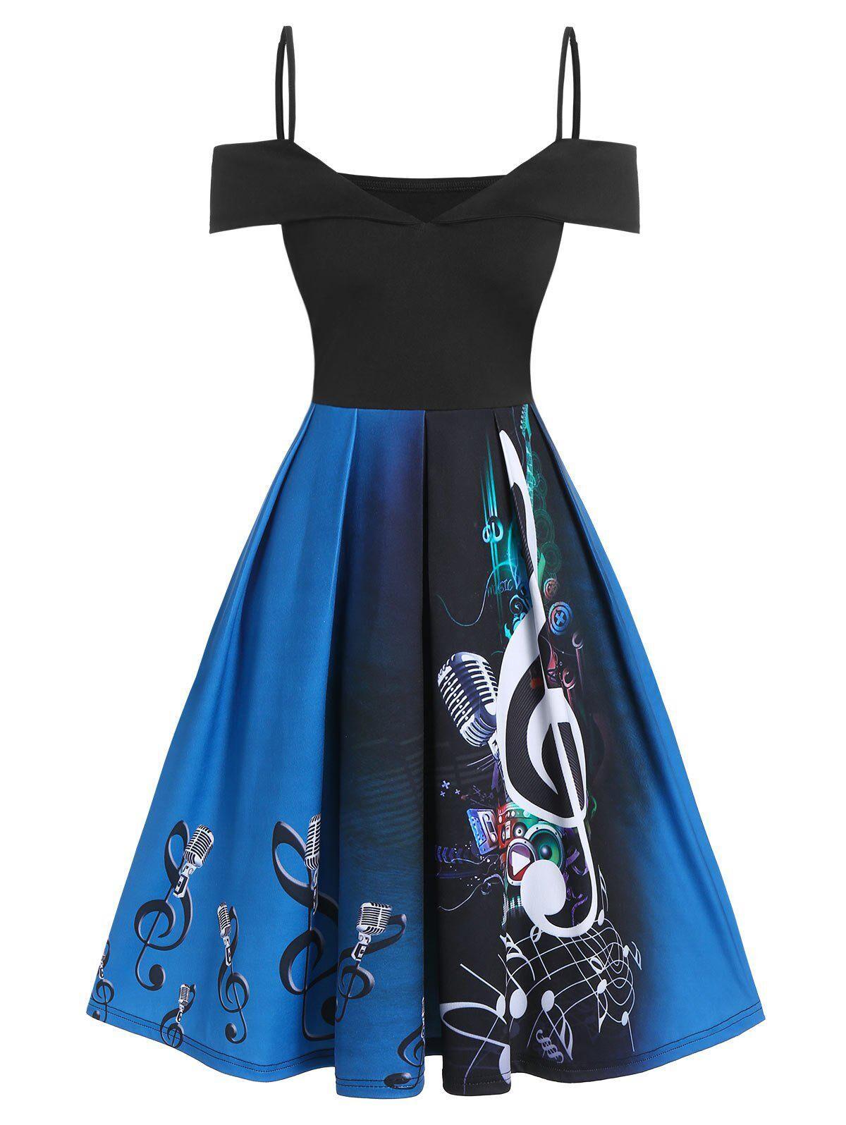 Rosegal Music Notes Microphone Print Open Shoulder Skater Dress