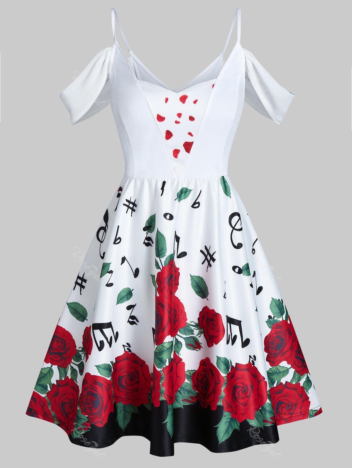 Rosegal Valentine Flowers Music Notes Print Cold Shoulder Mini Dress