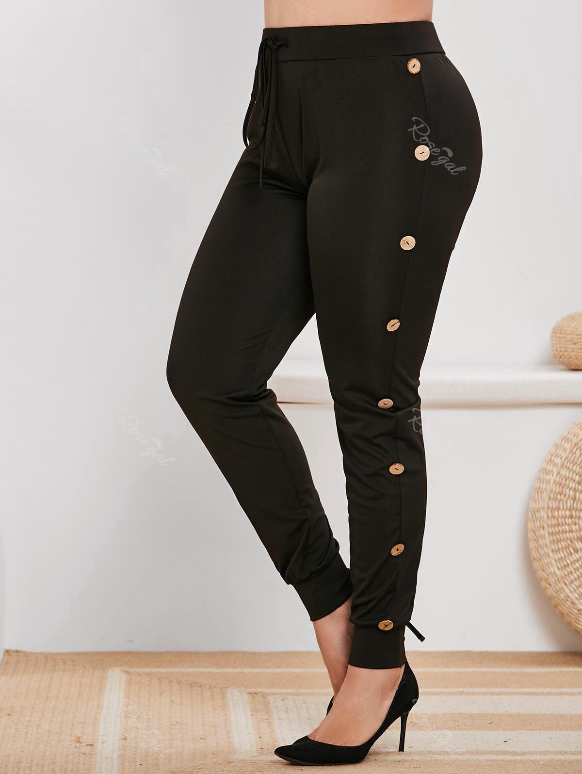 Rosegal Plus Size Mock Button Drawstring Sports Pants