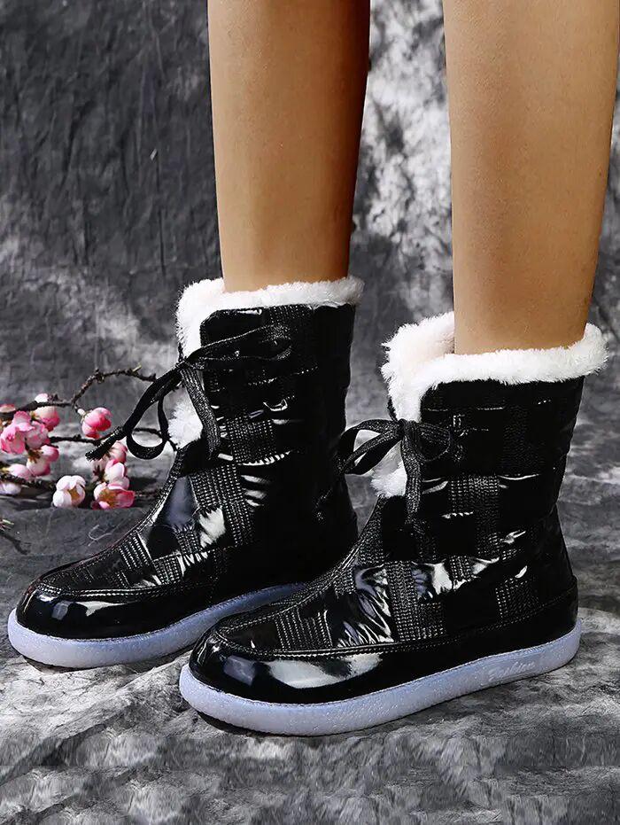 Rosegal Outdoor Quilted Fleece Snow Boots
