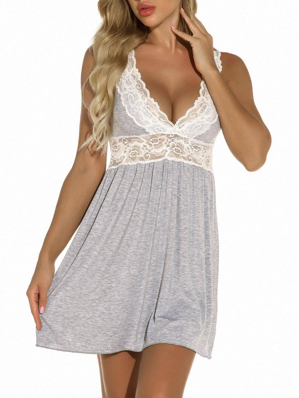 Rosegal Plunge Lace Panel Jersey Chemise