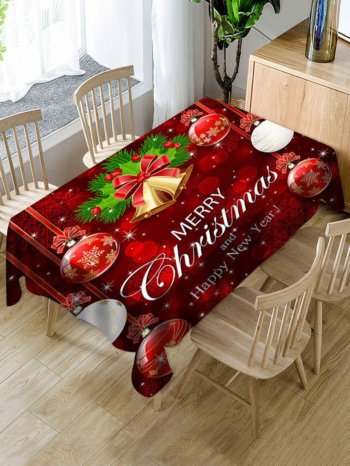 Rosegal Merry Christmas Bell Ball Fabric Waterproof Table Cloth
