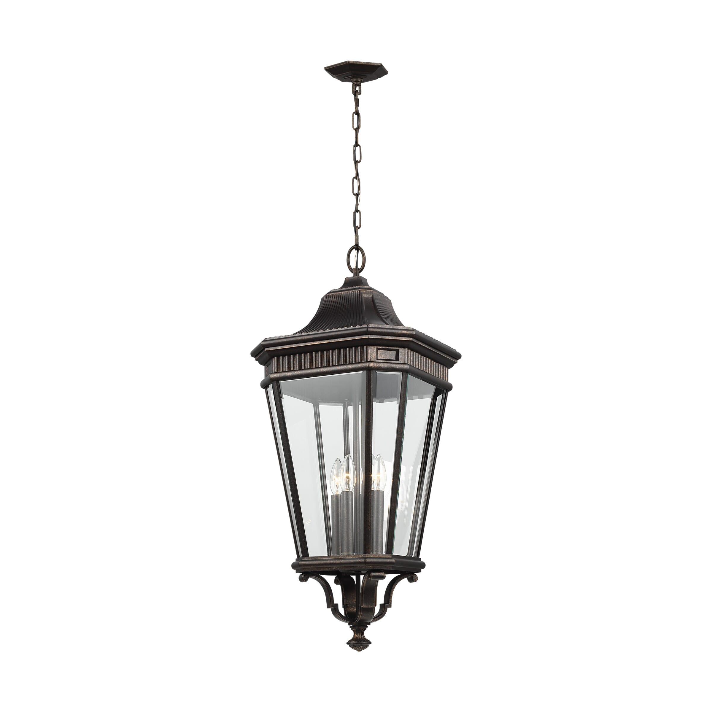 Feiss Cotswold Lane 4-Light Hanging Lantern in Grecian Bronze