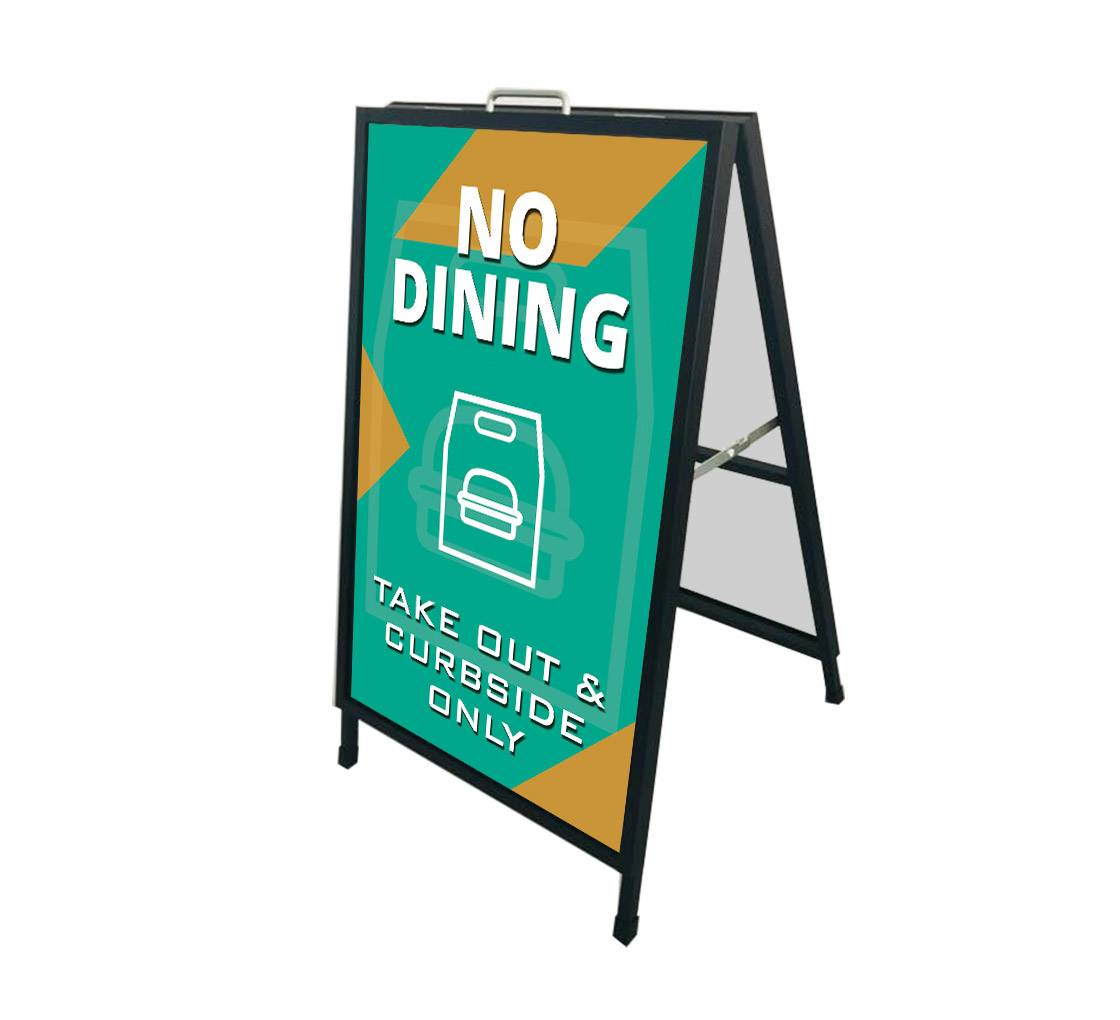 Bannerbuzz No Dining Take Out and Curbside Metal Frames