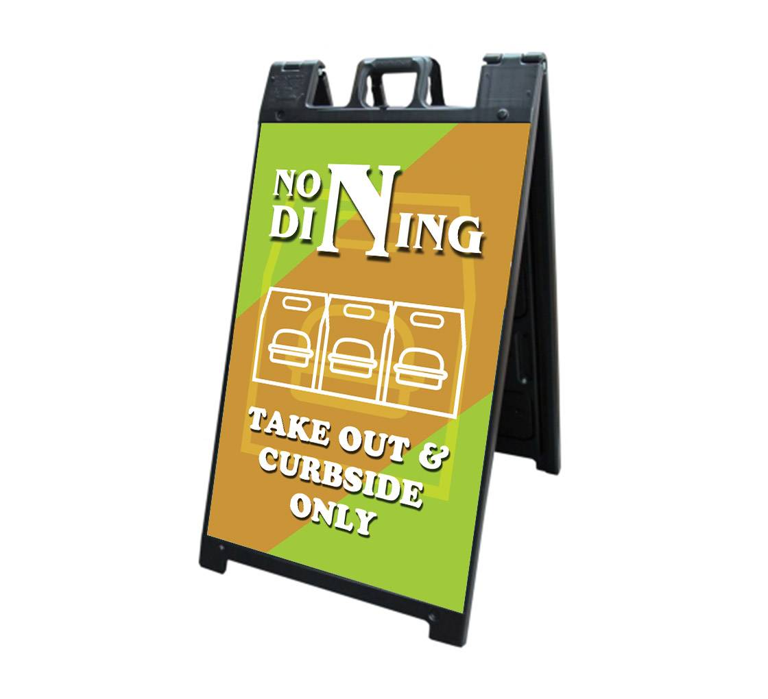 Bannerbuzz No Dining Take Out and Curbside Signicade Black