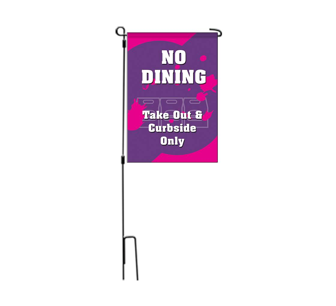 Bannerbuzz No Dining Take Out and Curbside Garden Flags