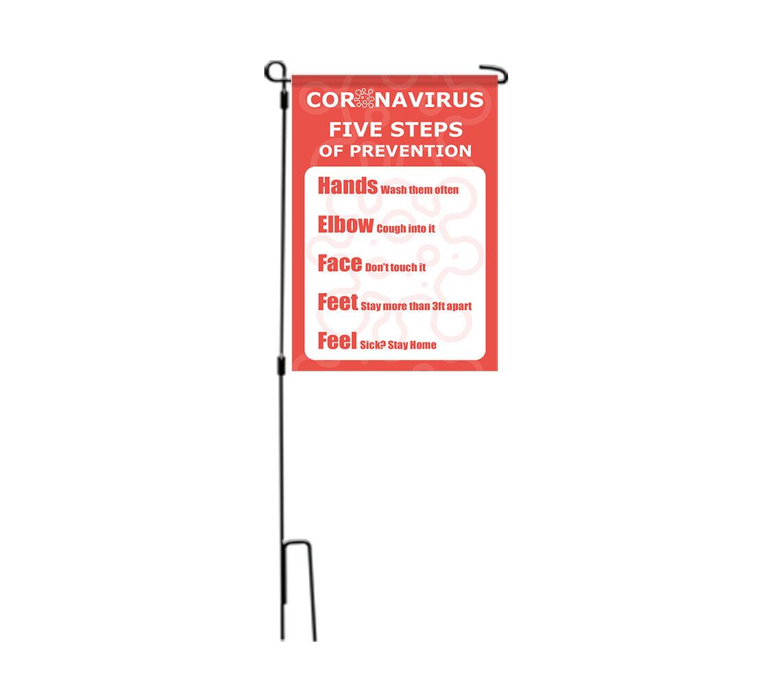 Bannerbuzz Coronavirus Five Steps of Prevention Garden Flags