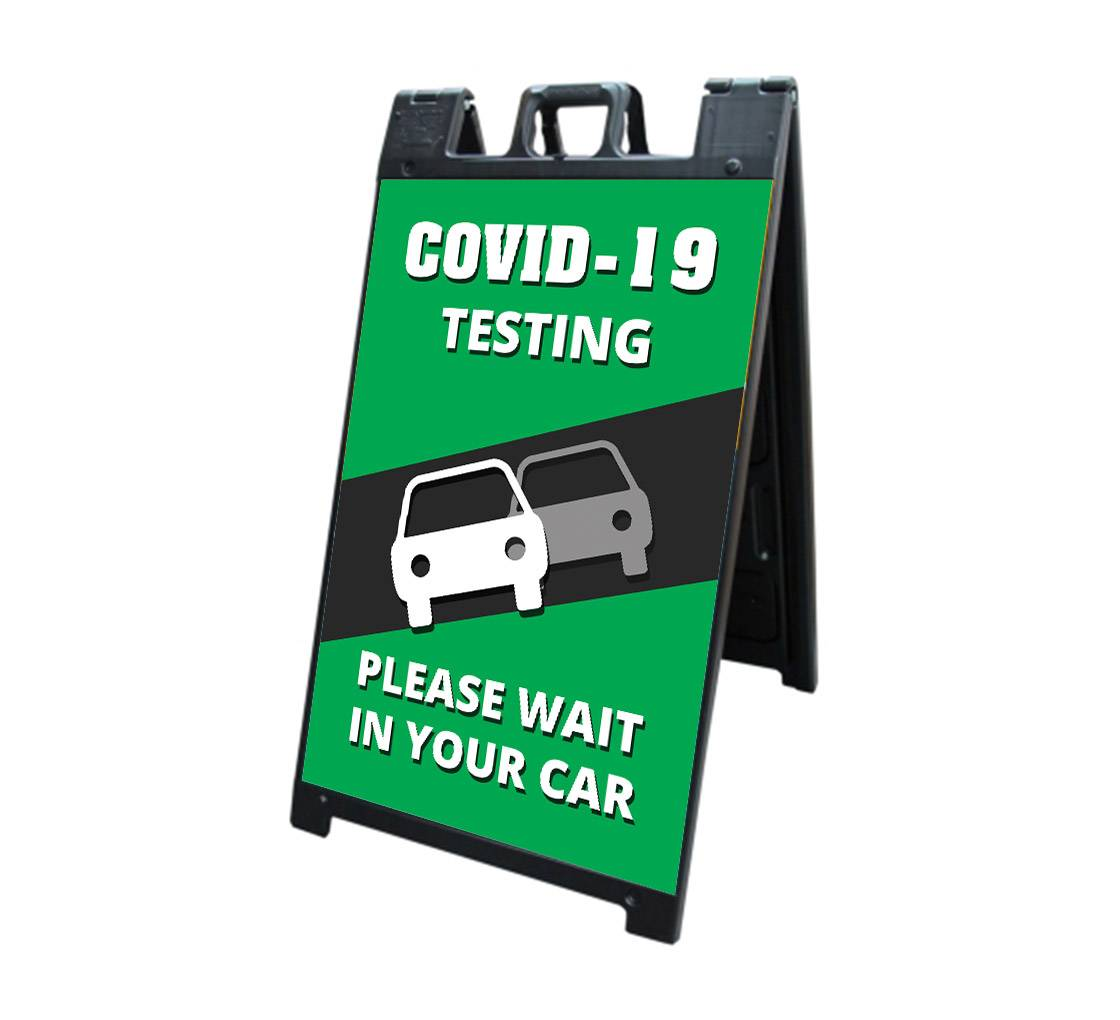 Bannerbuzz Covid-19 Testing Please Wait in your Car Signicade Black