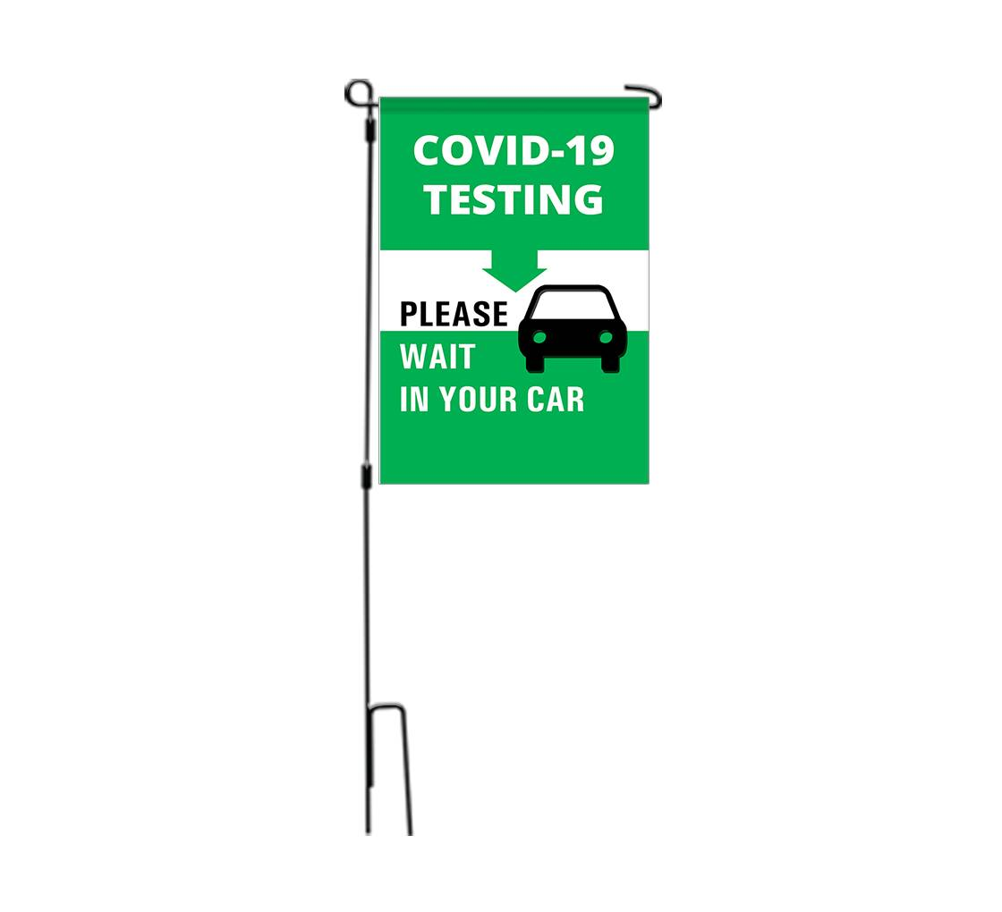 Bannerbuzz Covid-19 Testing Please Wait in your Car Garden Flags