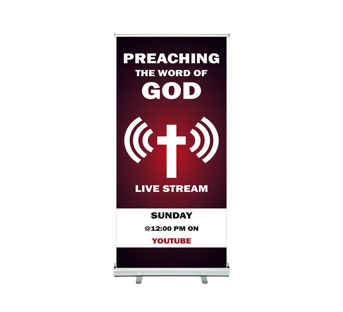 Bannerbuzz Preaching the Word of God Live stream Roll up Banner Stands