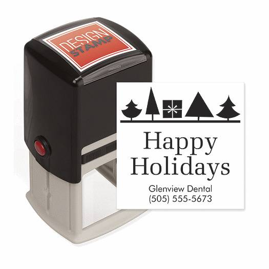 Deluxe for Business Holiday Trees & Gift Design Stamp - Self-Inking