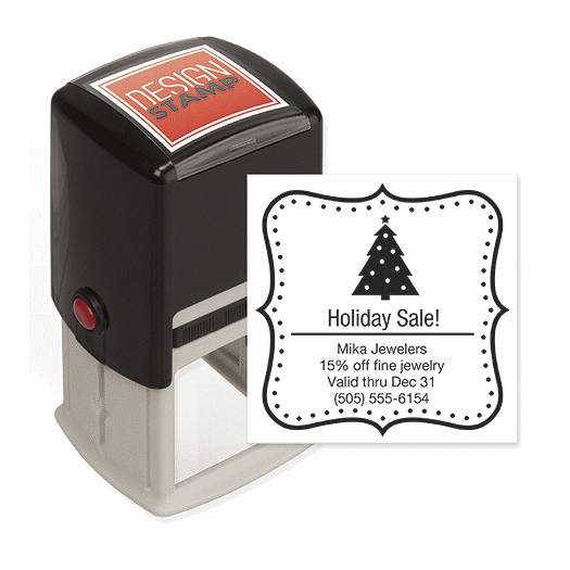 Deluxe for Business Holiday Dots Design Stamp - Self-Inking