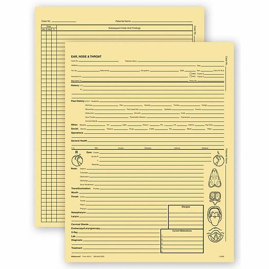 Deluxe for Business Ear, Nose, & Throat Specialty Exam Records, Letter Style