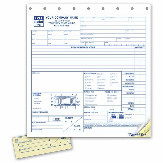 Deluxe for Business Towing Service Orders - with Key Tag