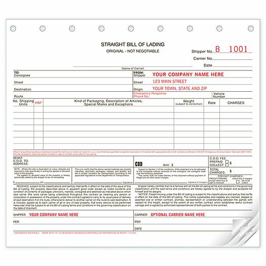 Deluxe for Business Bills of Lading, Carbonless, Small Format