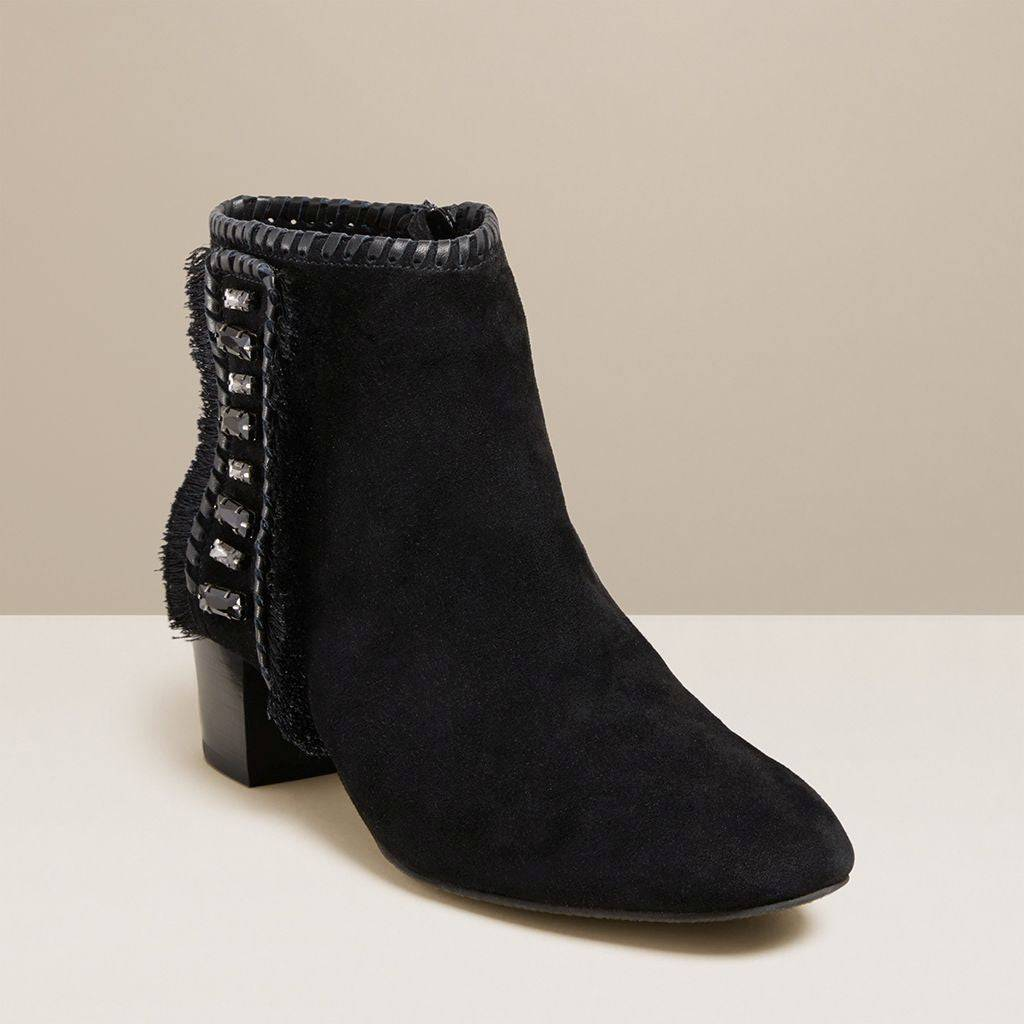 Jack Rogers USA Jack Rogers Beatrix Jeweled Suede Bootie  - Black - Female - Size: 9