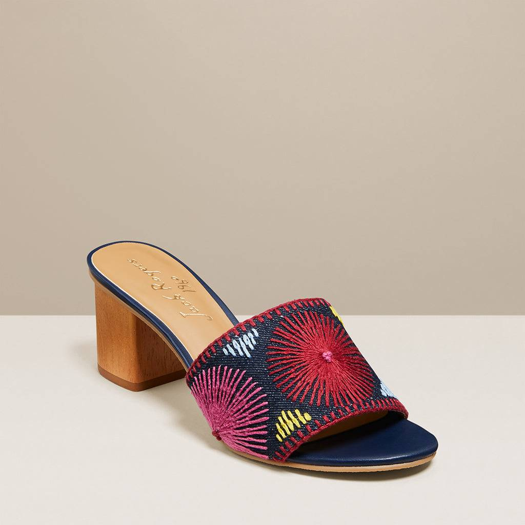 Jack Rogers USA Jack Rogers Bettina Mid Heel Embroidered  - Denim/Multi - Female - Size: 8.5