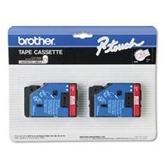 """Brother P-Touch TC Tape Cartridges for P-Touch Labelers, 1/2""""w, Red on Clear, 2/Pack"""