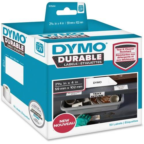 Dymo LW Durable Labels, 2 5/16 x 4, 50/Roll