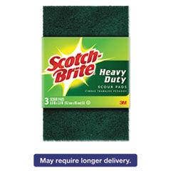 "Scotch-Brite Heavy-Duty Scour Pad, 3.8w x 6""L, Green, 3/Pack, 10 Packs/Carton"