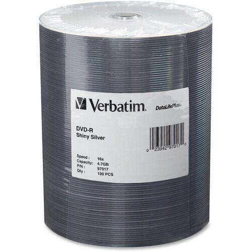 Verbatim DVD-R 4.7GB 16X DataLifePlus Shiny Silver Silk Screen Printable - 100pk Tape Wrap