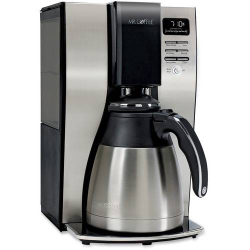 Mr. Coffee Optimal Brew 10-Cup Thermal Programmable Coffeemaker, Black/Brushed Silver