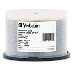 Verbatim UltraLife Gold Archival Grade w/Branded Surface DVD-R, 4.7GB/16X, 50/PK Spindle
